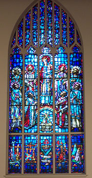 Stained glass window at Canadian Martyrs Church